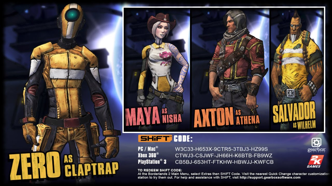 Borderlands 2 Zero's Claptrap Head & Skin Shift Code & November a, Axton & Sal  Presequel Heads & Skins!