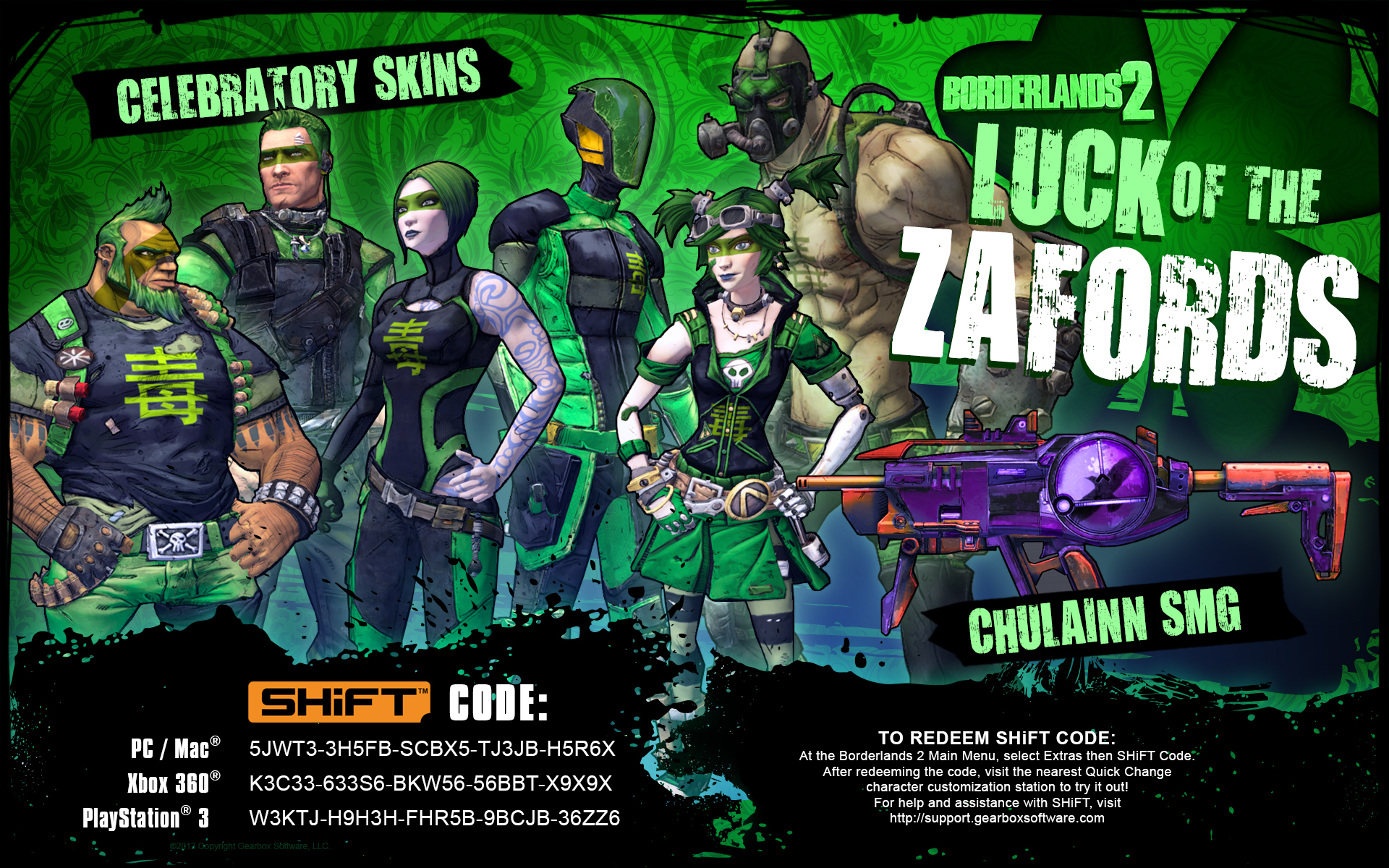 Get Your Borderlands 2 Luck Of The Zafords Shift Codes