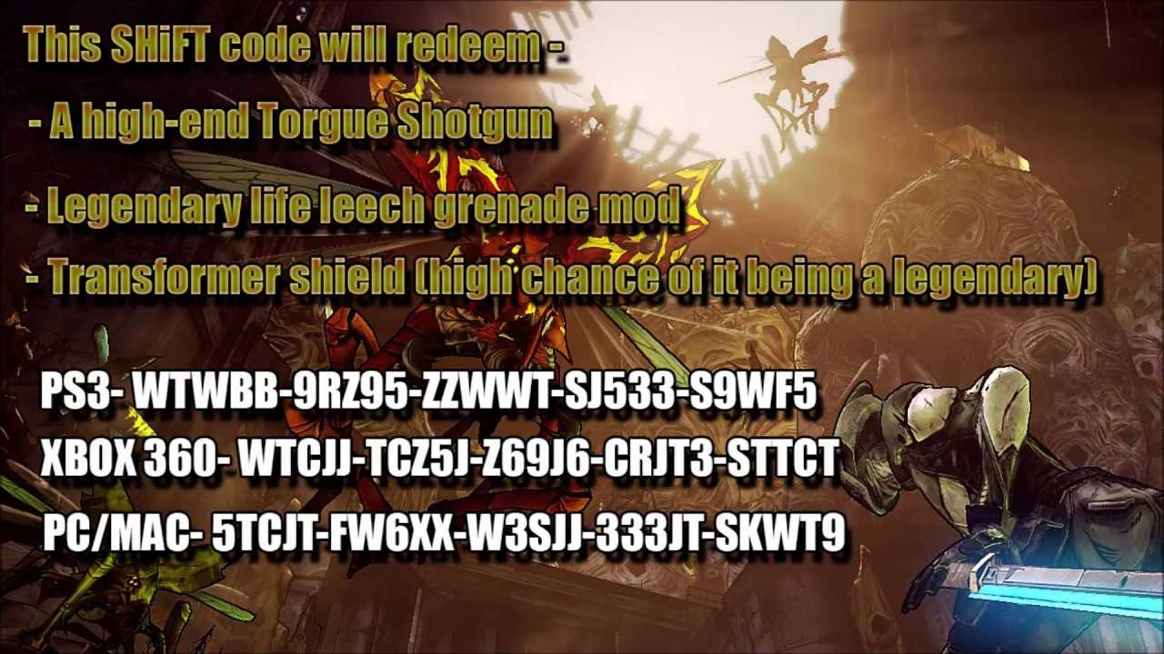 Valid* Borderlands 2 Legendary Shift Codes & Unexpired