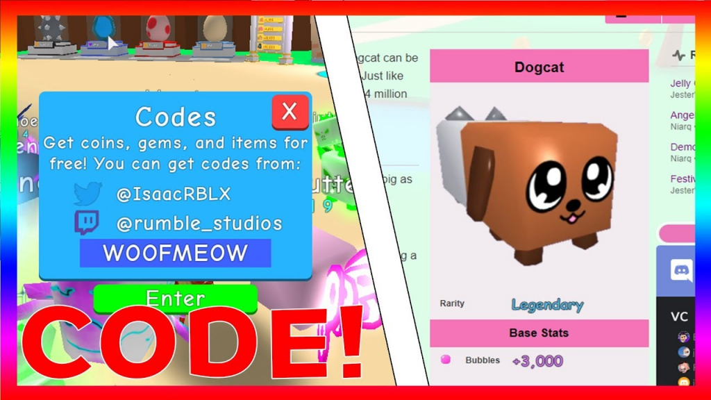 Code* How To Get The *dogcat* 1/8,000,000 Chance! - Bubble Gum - Bubble Gum Simulator Dog Cat Code