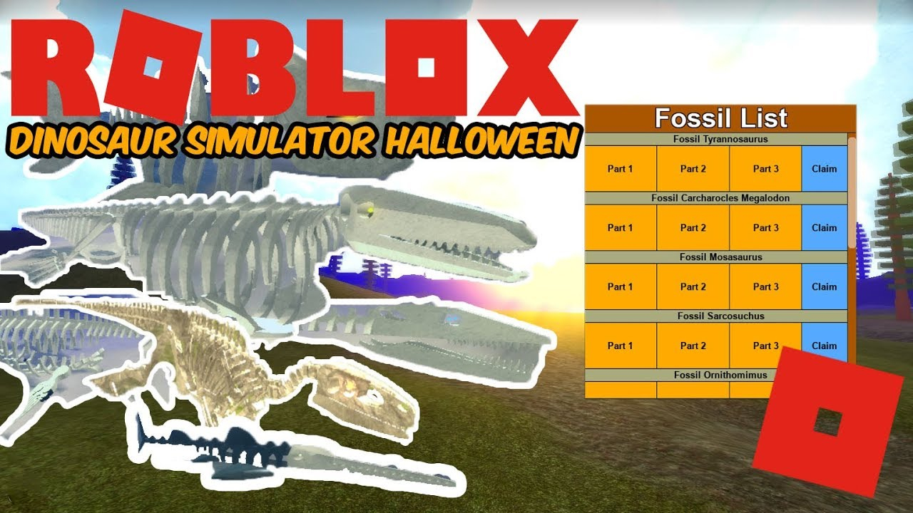 Roblox Dinosaur Simulator Halloween - How To Get All Fossils! (Speed  Collecting )