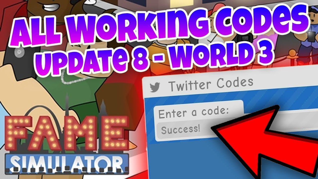 All Working Codes - Roblox Fame Simulator Update 8 - World 3