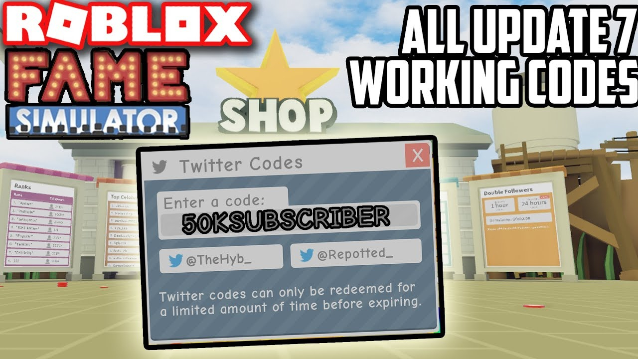 All*3*update 7 Working Codes!! | Fame Simulator (Roblox)