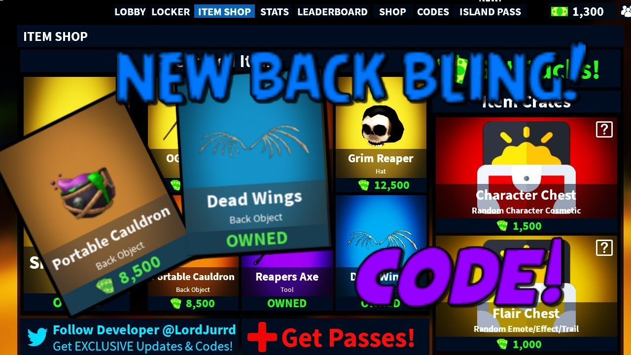 New Back Bling Update Code In Island Royale | Roblox - Youtube