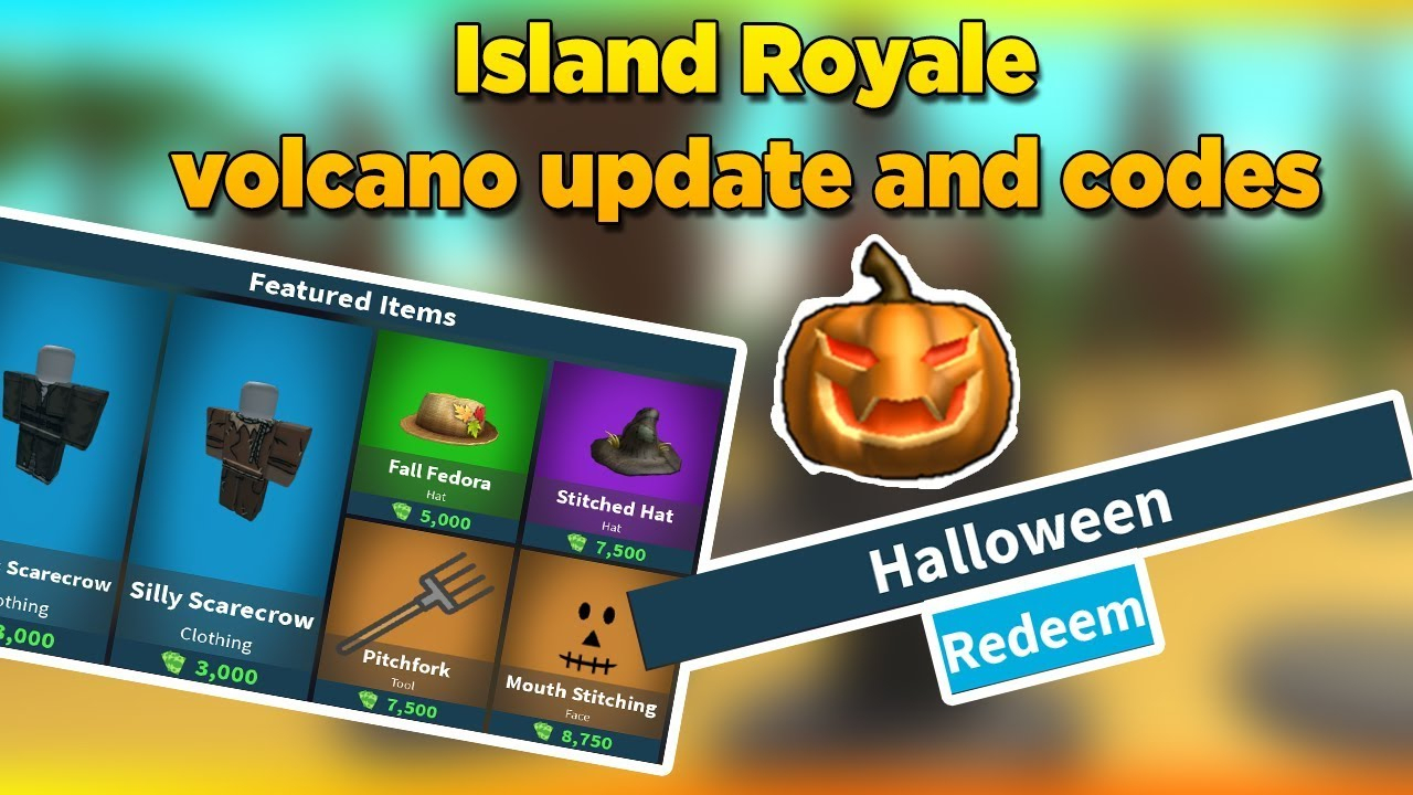 *volcano Erupted* 5000 Bucks Code 🎃 New Halloween Items - Roblox Island  Royale 🎄