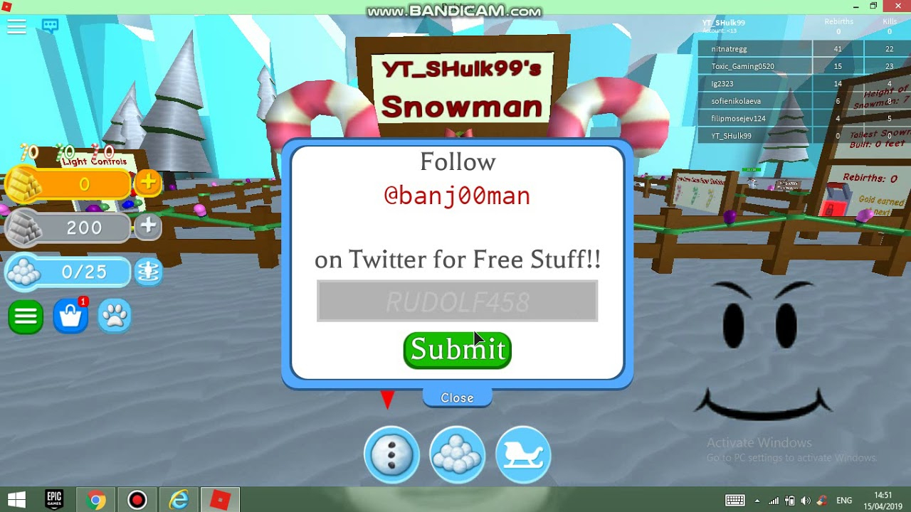 Snowman Simulator Codes October 2019