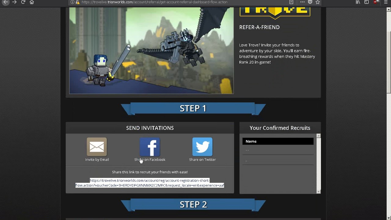 Trove How To Make Refer Friend Code - Youtube